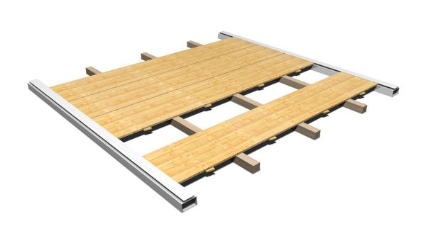 Holzfußboden mit Kantholzunterbau Partyzelt 5 x 2,5 m