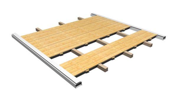 Holzfußboden mit Kantholzunterbau Partyzelt 5 x 10 m